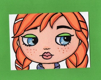 ACEO Original Miniature Painting Blythe doll face Princess Anna Frozen Art Artist Trading Card