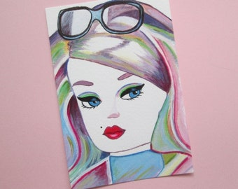 Original Acrylic Collectable Postcard size Painting Silkstone Barbie doll rainbow hair  size 6 x 4 inches
