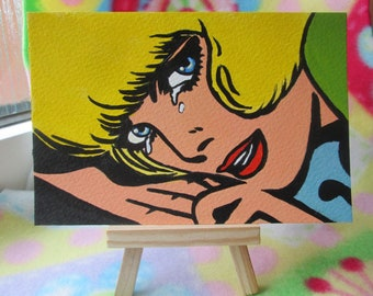 Original Acrylic Postcard size Painting Pop Art Comic Girl woman crying size 6 x 4 inches HALF PRICE SALE  4.93
