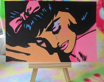 Original Acrylic Postcard size Painting Pop Art Comic Girl crying size 6 x 4 inches HALF PRICE SALE 4.93