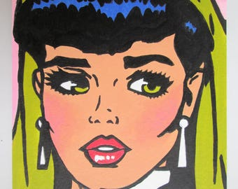 Hand made Hand Painted Original Acrylic Postcard size Painting  Pop Art Comic Girl green eyes size  6 x 4 inches Half Price SALE 4.99