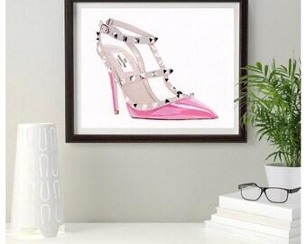 Original Painting Designer Pink Valentino Rockstud  Fashion shoe 10 x 8  inches Free Post in UK