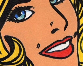 ACEO Original Miniature Painting Pop Art Comic Girl Artist Trading Card HALF PRICE Sale 4.93