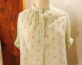 Vintage Small Sheer Floral Top with Collar