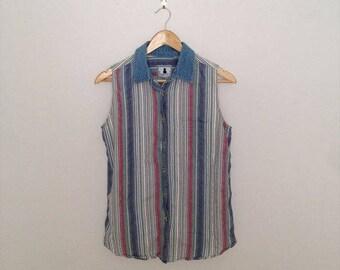 Vintage 80's Denim collar x Multi color Stripe Cotton Sleeveless shirt/Long Length