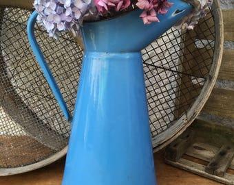 Vintage French enamel blue jug~pitcher