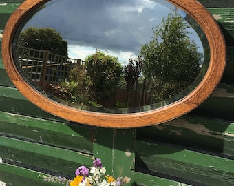 Art Deco Oval Wall Mirror With Bevelled Glass and Wooden Frame