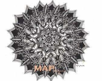 Mandala, fait à la main en noir et blanc