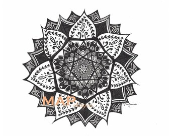 Mandala, Handmade in Black and White