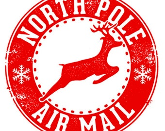 Christmas North Pole Imitation Postage Stamps Round Multi Size Stickers Labels