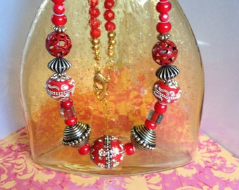 Fire Engine Red Ethnic Beaded Necklace with Gold Chain Lobster Clasp