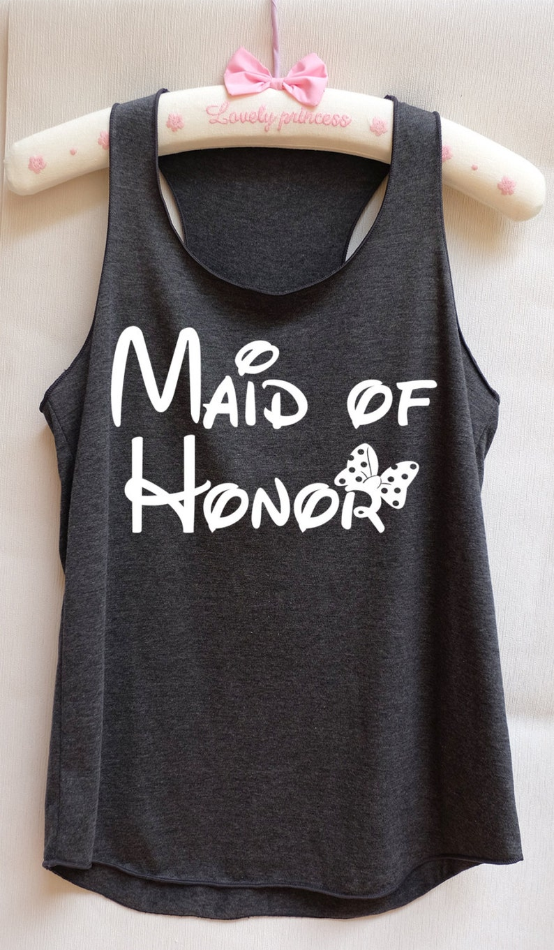 Maid of honor Minnie bow Disney tank tops/Bridesmaid image 0