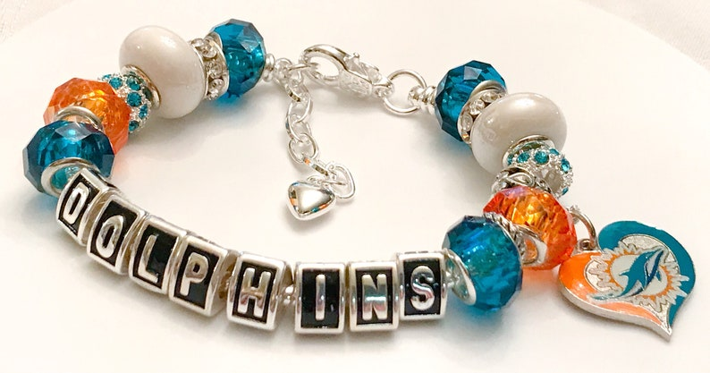bba89127 Miami Dolphins Jewelry bracelets body Bling. All and handmade The Ultimate  INSPIRED Silver adjustable bracelets