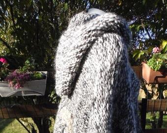 Black and white mohair Alpaca poncho