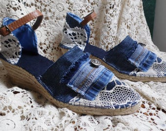 Denim and lace platform sneakers from 34 to 42