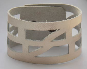 """Silver color Leather """"Self Empowering"""" Cuff bracelet. Reclaimed Leather Band."""