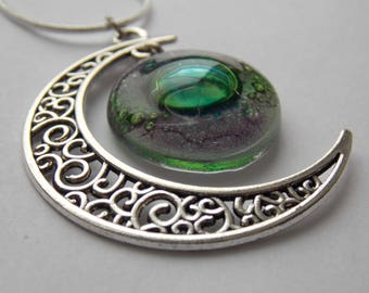 Green and lilac moon pendant Recycled glass. long Glass Necklace. Handmade jewelry. Moon Pendant. gift under 20. Recycled Glass Moon.