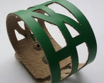 """Green Leather """"Self-Empowering"""" Wrist Band. Leather Cuff Bracelet."""