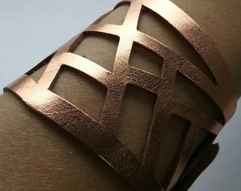 Copper color Reclaimed Leather Cuff. Barcelona Bracelet. Leather cuff copper Light and Soft Bracelet.