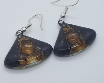 Black white and brown Fan shape recycled fused glass drop earrings. Neutral colors dangle earrings