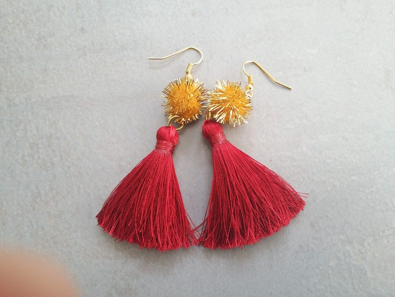 Red Tassel Earrings Pom pom Tassel Earrings Tassel Earrings Pom pom Fringe Earrings  Sandycraft Pom pom Earrings Red Tassel Earringsl