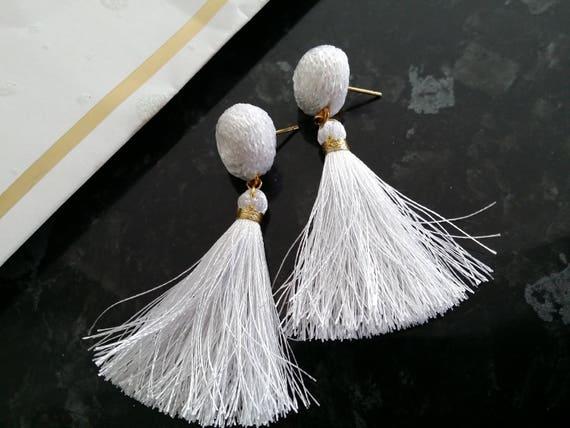 Stud Earrings Silver Tassels Pink Ball Earrings Sandycraft Tassels  Katarzyna Bodera Stud Crochet Ball Earrings Tassels Earrings