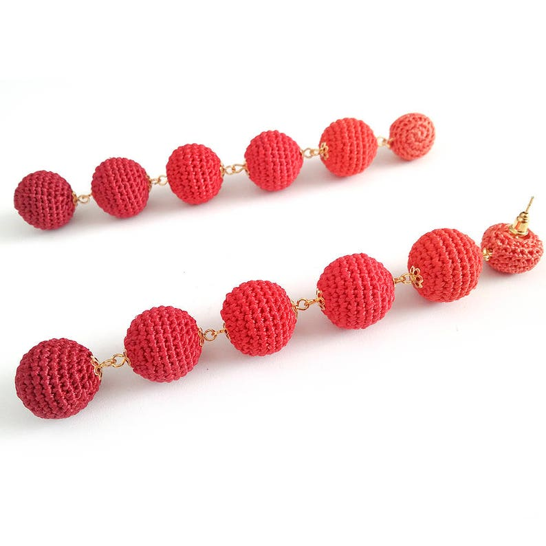 les bonbons earringsSandycraft Clip on Earrings Stud Lightweight Drop Earrings with six Crochet Balls Bonbons Earrings Bon bon Earrings