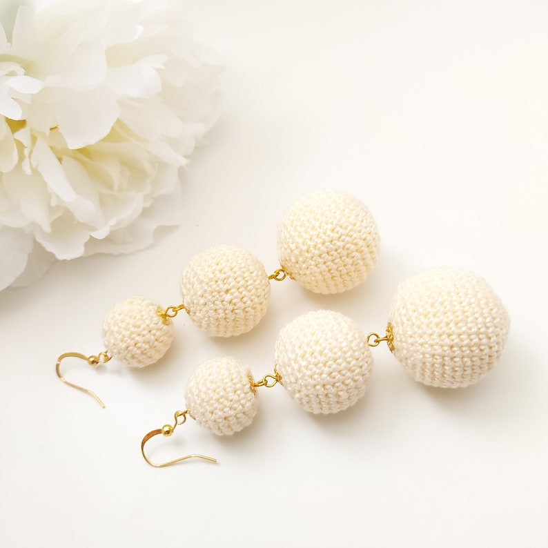 Ball drop earrings Mint Earrings Dangle Earrings with three crochet balls Dangle Mint Earrings  Sandycraft les bonbons earrings