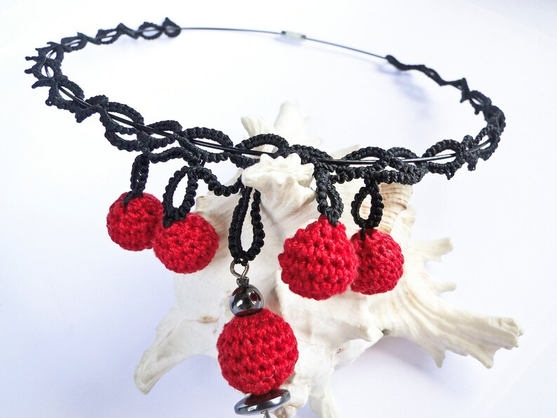 Unique Gift for her Crochet Red Ball Necklace Unique Black Tatting Necklace Ball Drop Necklace Mother/'s Day gift  Sandycraft