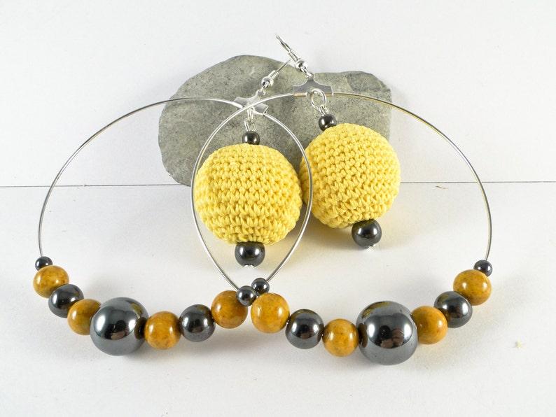 hoop-drop earrings Yellow Earrings Ball Drop Earrings Dangle Earrings lightweight hoop-drop earrings Sandycraft Hoop Earrings