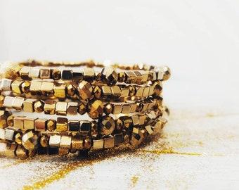Gold Fever - Memory wire bracelet - Gold bracelet - Wrap bracelet