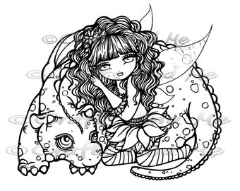 Digital Stamp - Instant Download - Alicia and Aliana - Fantasy Line Art for Cards & Crafts by Exclusive Artist Hannah Lynn for Crafts and Me