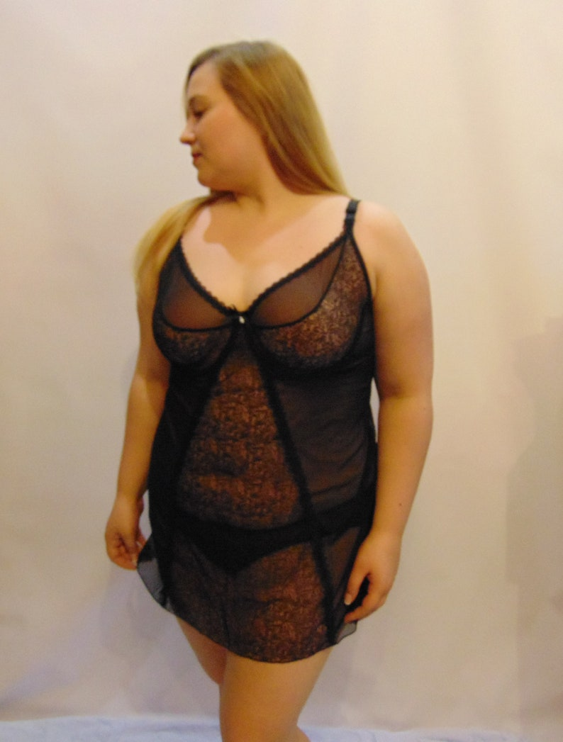 f2af9ab76 Sexy erotic lingerie black chemise big plus queen curvy size