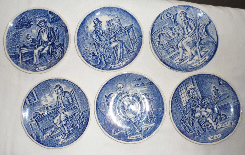 Enoch Wedgewood  tunstall ltd plate blue white English transferware Countryside English dinnerware