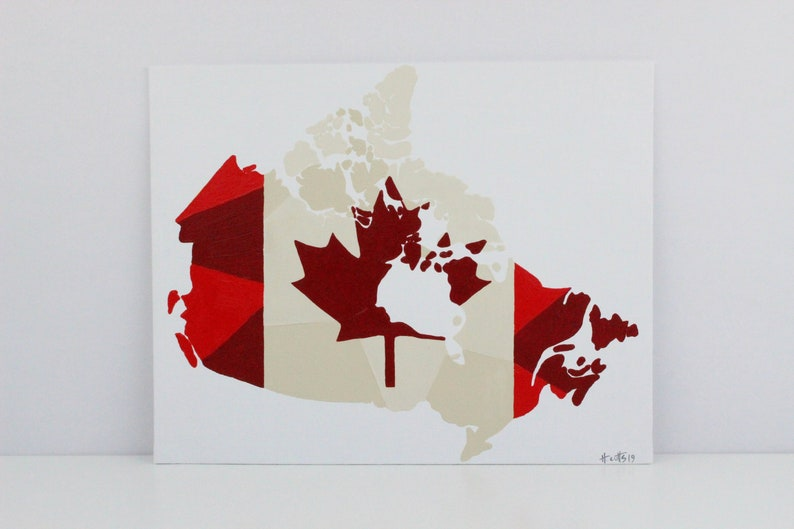 Map Of Canada Red.Canada Map Canada Custom Map Gift Canada Painting Map Of Canada Canada Flag Art Canadian Flag Canada Gift Travel Gift Travel Art