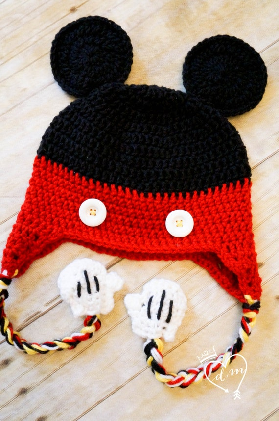 Crochet Mickey Mouse Beanie Hat Mickey Mouse Clubhouse Red  8fa7b4cf406
