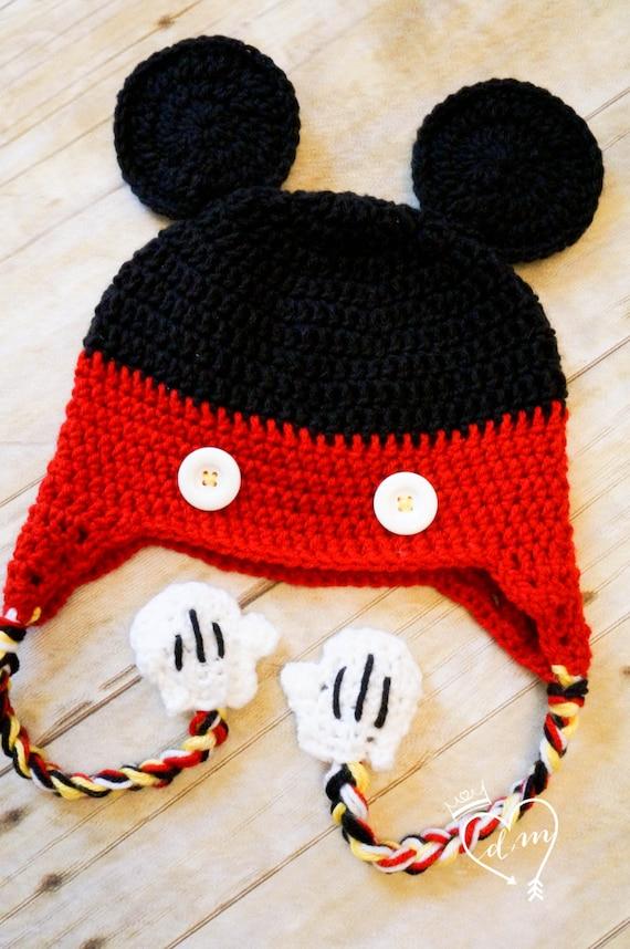 Häkeln Micky Maus Mütze Mickey Mouse Clubhouse Rot Schwarz Gelb Weiß Neugeborene Baby Kleinkind Foto Prop