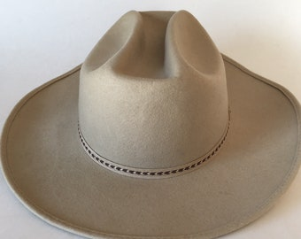 7 1 4 Vintage 1950s 60s Miller Western Wear Cowboy Hat Hard Felt Miller  Denver Hat Natural Wool Felt Natural Color Hat 21c119ed90a4
