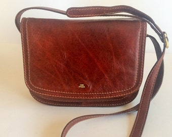 Genuine Vintage THE BRIDGE Story Donna Marrone Leather Crossbody Bag - Made  in Italy