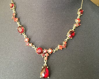 Ruby Red Crystal Necklace, Signed Avon, Vintage Rhinestone Costume Jewelry, Avon Necklace