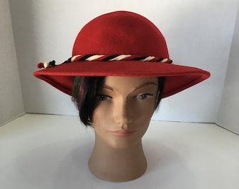 c40bb24ebdf 1950 s Vintage 100% Wool Felt Red Bowler Hat By Lancaster Made in USA