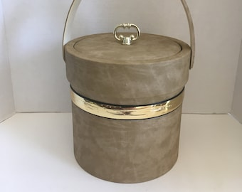 Vintage Faux Leather Shelton-Ware Ice Bucket - Father's Day Gift, Mad Men Era, Man Cave