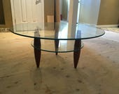 MCM Walnut Base 2 Tier Glass Top Modern Round Low Coffee Table Tapered Spindles in the style of Gio Ponti, Adrian Pearsall, Vladimir Kagan