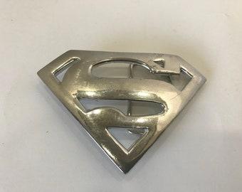 Western New Silver Classic Leather Mens Superhero Superman Metal Belt Buckle