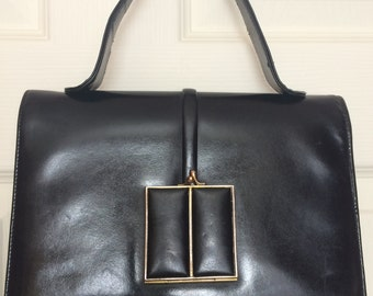 e0775195f8 1960 s Vintage Black Leather Kelly Style Bag Royal Fernera Collection by Mastercraft  Leather Goods Ltd. of Montreal