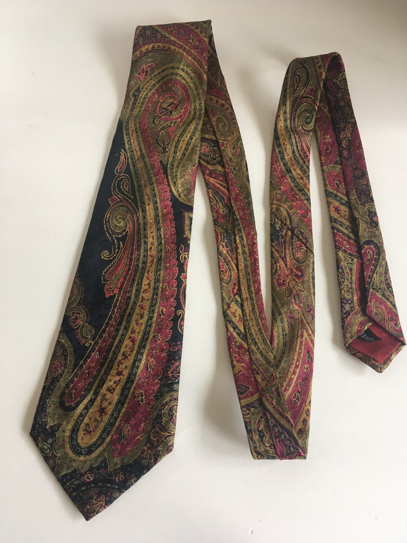 Husband Gift Dad Gift Vintage Aquascutum of London Paisley Pattern Authentic Men/'s Silk Tie 1980s Boyfriend Gift