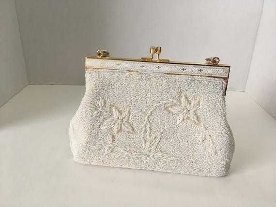 Vintage White Micro Beaded Purse Caviar Bead Handbag Bridal  a3dad92e37728