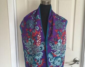 Vintage Canadian Designer Monique Martin 1980's Floral Scarf