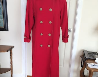 Vintage 1980s Raffinati Military Style Fire Engine Red Wool and Cashmere Double Breasted Winter Coat Jacket with Gold Buttons
