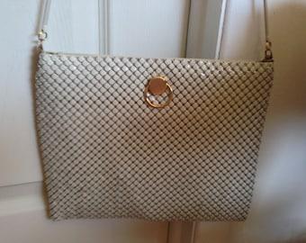 Vintage White Mesh Evening Bag, Clutch or Shoulder bag with Gold Tone Hardware